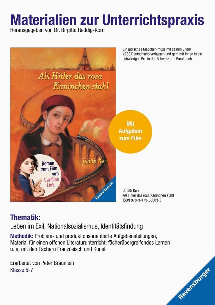 Materialien zur Unterrichtspraxis - Judith Kerr: Als Hitler das rosa Kaninchen stahl